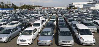 Japanese Used Vehicles in the main yard of JapaneseVehicles.com