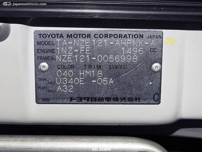 TOYOTA COROLLA RUNX, 2001, S/N 203895 Used for sale   TRUST